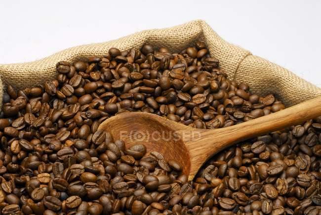 Granos de café y cuchara de madera - foto de stock