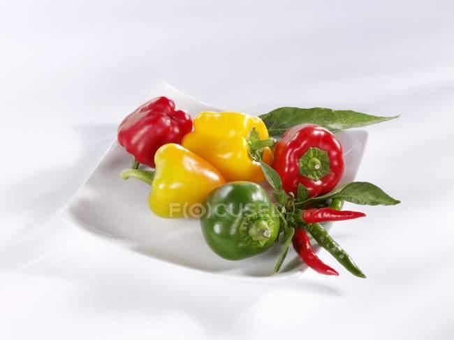 Piments et poivrons colorés — Photo de stock