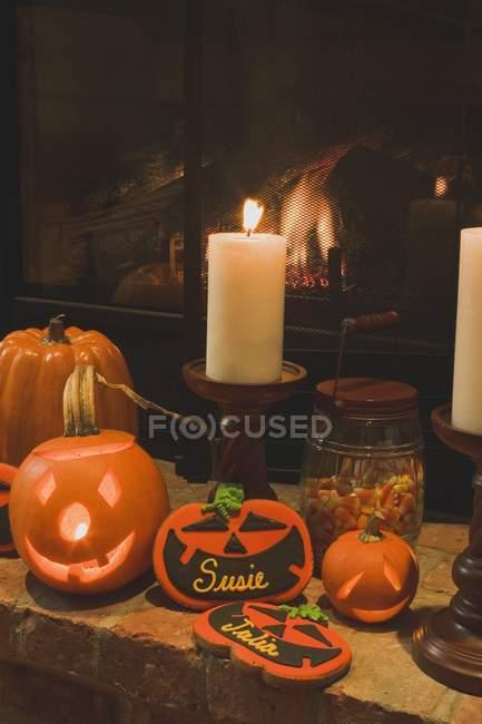 Autumn halloween decorations — Stock Photo