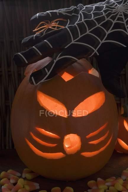 Lanterne citrouille, gant de toile d'araignée et araignée — Photo de stock