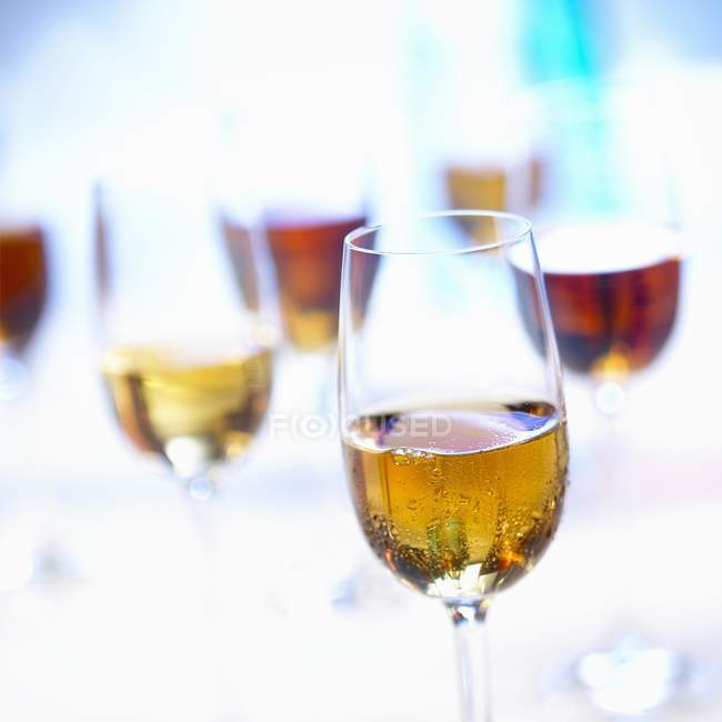 Closeup view of Sherry drinks in glasses — Stock Photo