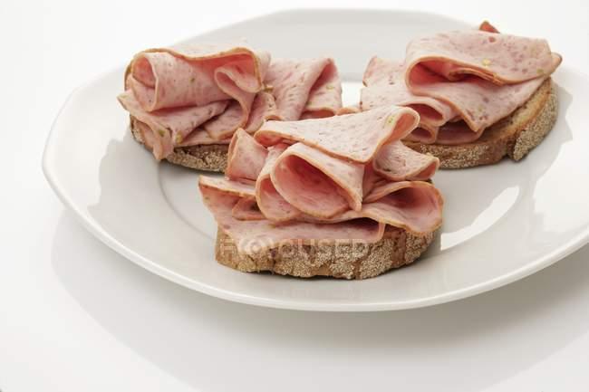 In Scheiben geschnittene Wurst - deutsche Jagd Wurst auf Brot auf weißen Teller — Stockfoto