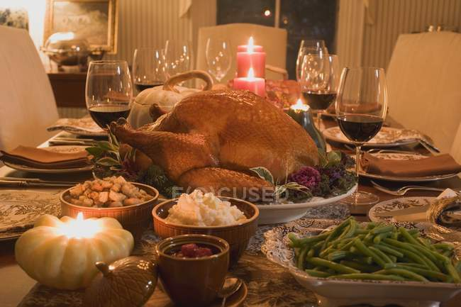Stuffed turkey with accompaniments — Stock Photo