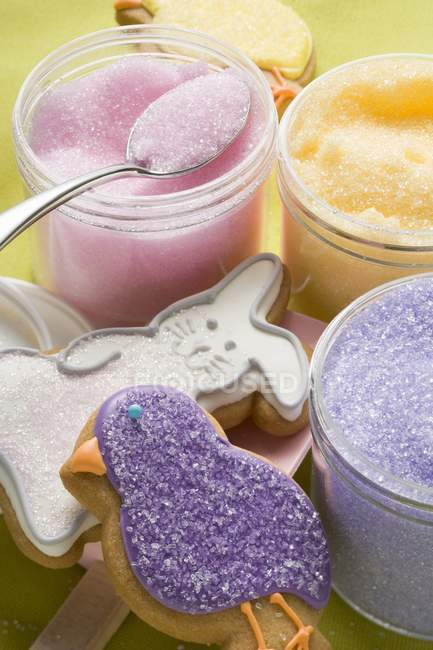 Coloured sugar for decorating — Stock Photo
