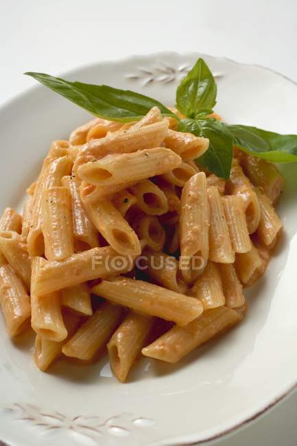 Penne with tomato and mozzarella sauce — Stock Photo