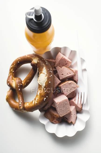 Теплий Leberkse м'ясний рулет — стокове фото
