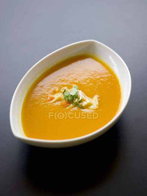 Carrot soup in small bowl — Stock Photo