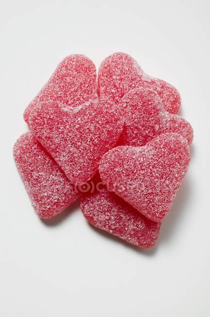 Red jelly hearts — Stock Photo
