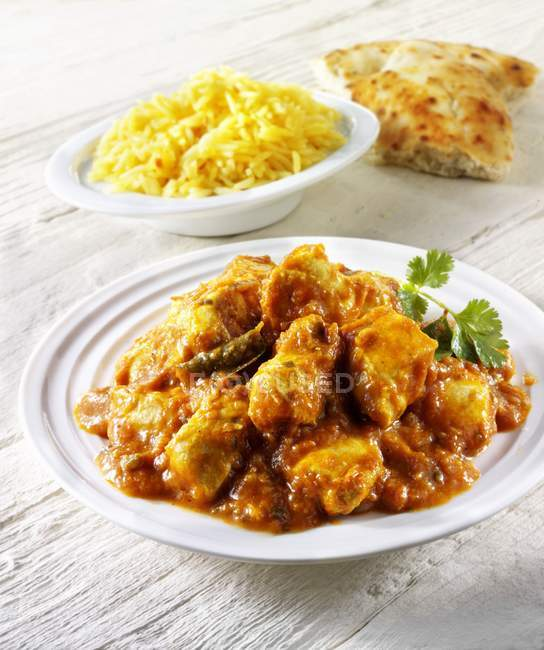 Chicken curry and rice — Stock Photo