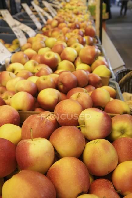 Apples on market stall — Stock Photo