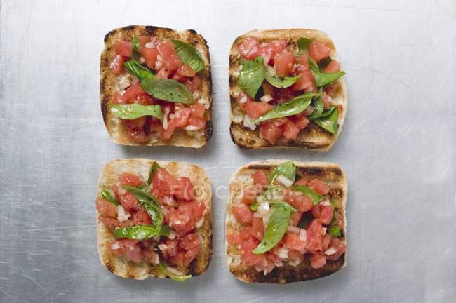 Bruschetta avec salsa de tomates et basilic — Photo de stock