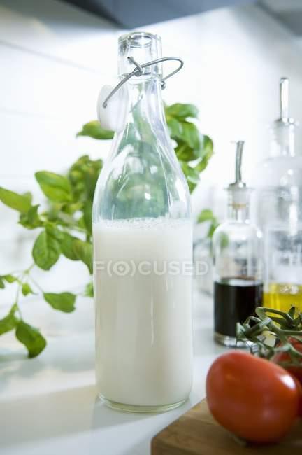 Бутылка молока рядом с другими ингредиентами — стоковое фото