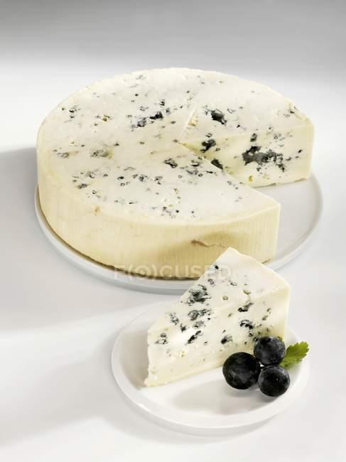 Голубой сыр с куском удалены — стоковое фото