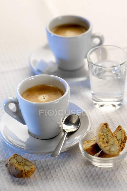 Closeup view of Espresso with Cantucci and water — Stock Photo