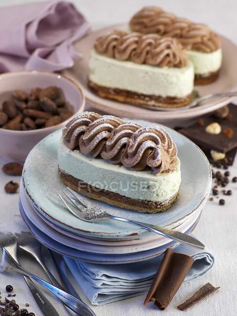 Schoko-Pistazien-Torte — Stockfoto