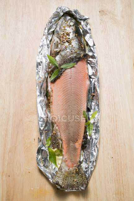 Baked salmon trout — Stock Photo