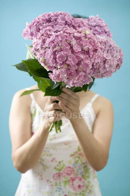 Cropped view of woman holding bunch of hydrangeas — Stock Photo