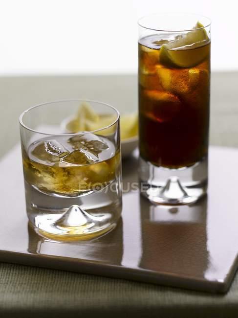 Whiskey and a Cuba Libre — Stock Photo