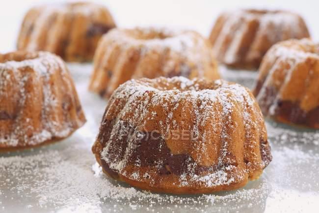 Выпекание торты посыпанный сахарной пудрой — стоковое фото