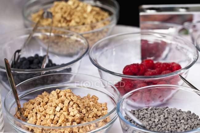 Varios ingredientes para yogurt - foto de stock