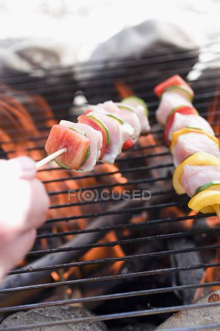 Closeup view of poultry kebabs on barbecue grill rack — Stock Photo