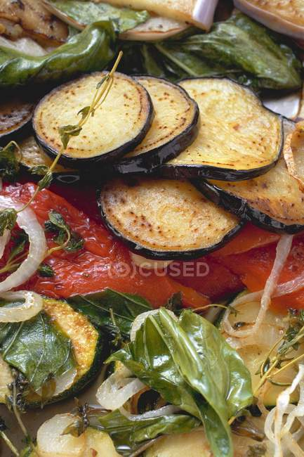 Roasted vegetables with herbs, full frame — Stock Photo