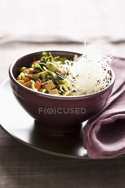 Vegetables Tofu Salad in bowl — Stock Photo