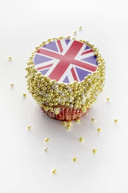 Cupcake decorado con Union Jack - foto de stock