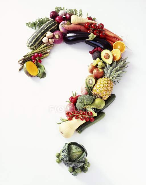Fresh Fruit and Veggies Forming a Question Mark on a White Background — Stock Photo