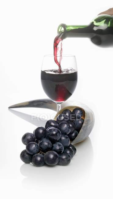 Glass of red wine with ripe grapes — Stock Photo