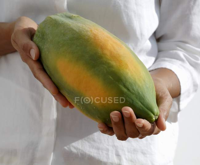 Les mains femelles tenant la papaye — Photo de stock