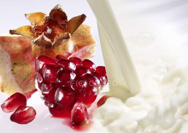 Milk and fresh pomegranate seeds — Stock Photo