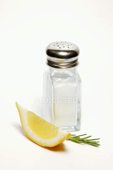 Salzstreuer mit Rosmarin und Zitrone — Stockfoto