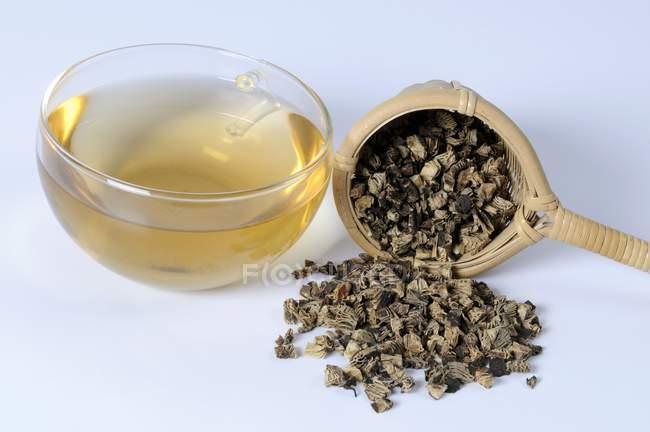 Tasse Tee mit getrockneten Traubensilberkerze Wurzel — Stockfoto