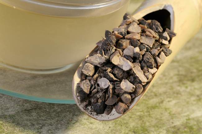 Tasse Tee mit getrockneten Nutgrass Wurzel — Stockfoto