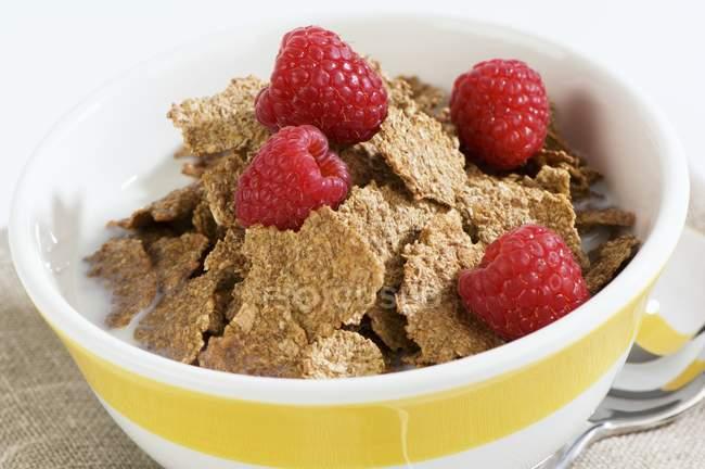 Copos de cereales con leche y frambuesas - foto de stock