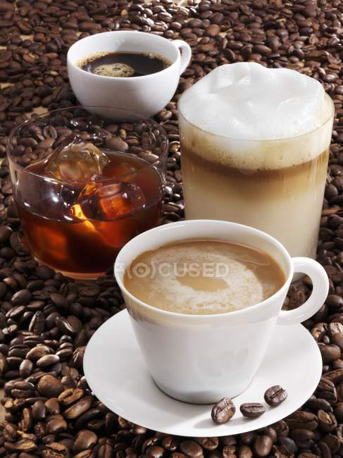 Different coffee drinks — Stock Photo