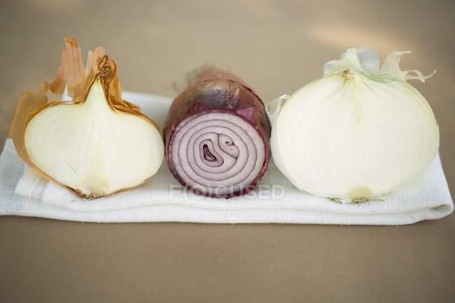Tres cebollas diferentes - foto de stock