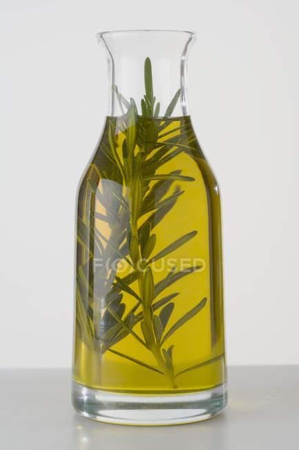 Closeup exibição de óleo de alecrim no copo com erva — Fotografia de Stock