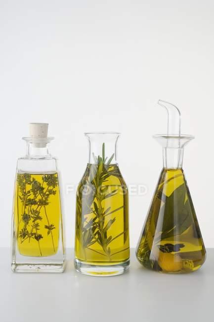 Closeup vista de três óleos de ervas diferentes em garrafas — Fotografia de Stock