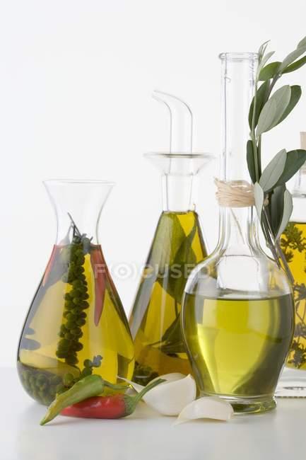 Naturaleza muerta con varios aceites de hierbas y especias en botellas de vidrio - foto de stock