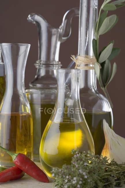 Varios tipos de aceite en garrafas - foto de stock