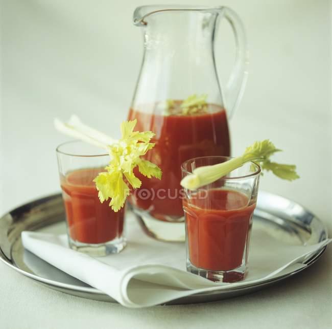 Succo di pomodoro con sedano — Foto stock