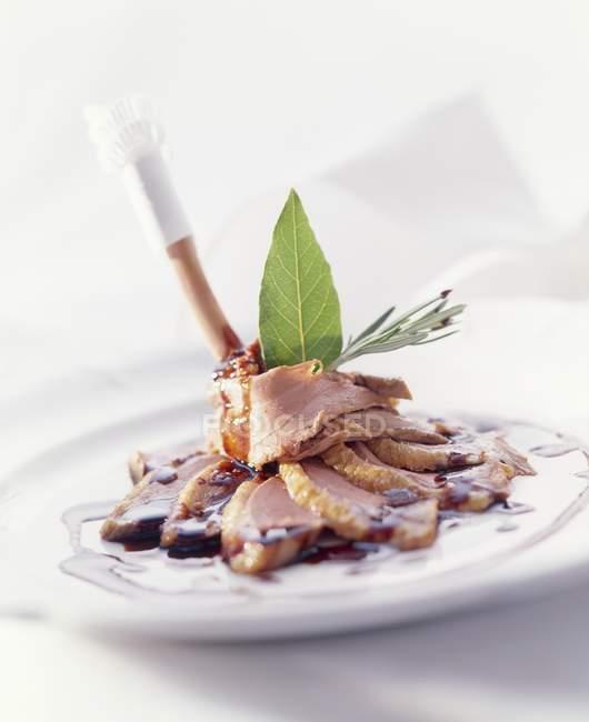 Ente mit Balsamico-Rotweinsauce — Stockfoto
