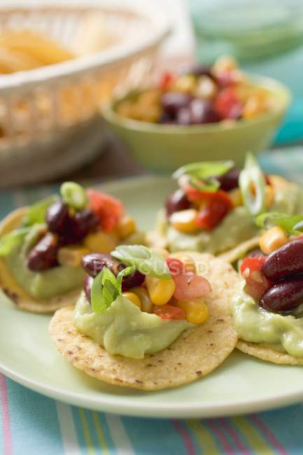 Tortillachips mit Guacamole und Salsa auf Gren Platte über farbige Handtuch — Stockfoto