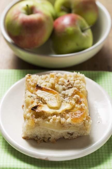 Кусок Яблочный торт крошится — стоковое фото