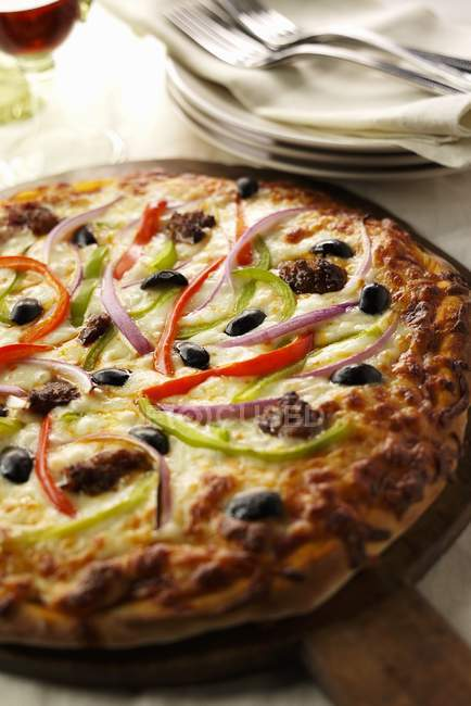 Sausage and Vegetable Pizza — Stock Photo