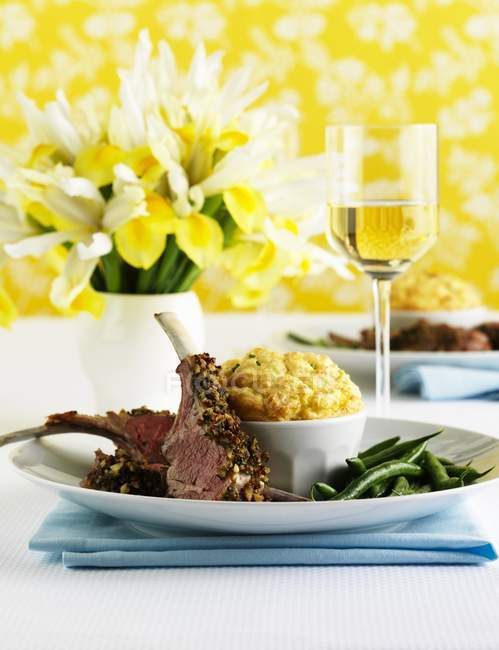 Lamb chops with cheese — Stock Photo