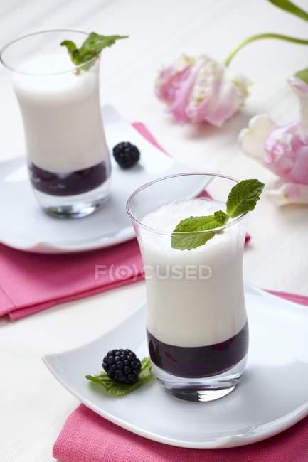 Крупним планом подання blackberry пюре з ванільним ароматизований пахта — стокове фото