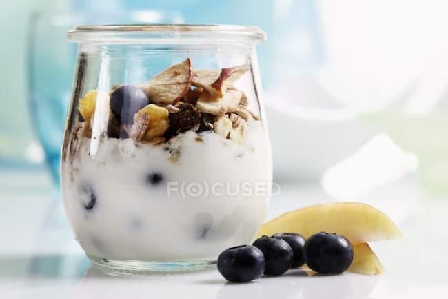 Yogur con muesli - foto de stock